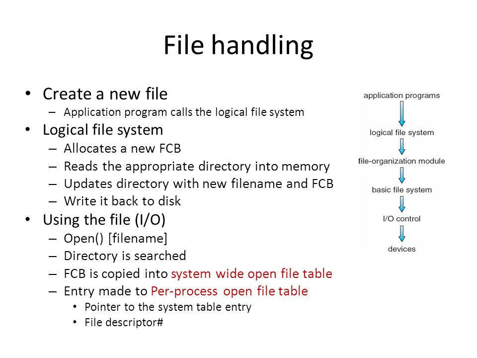 File handling Create a new file Logical file system