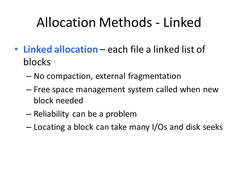 Allocation Methods - Linked