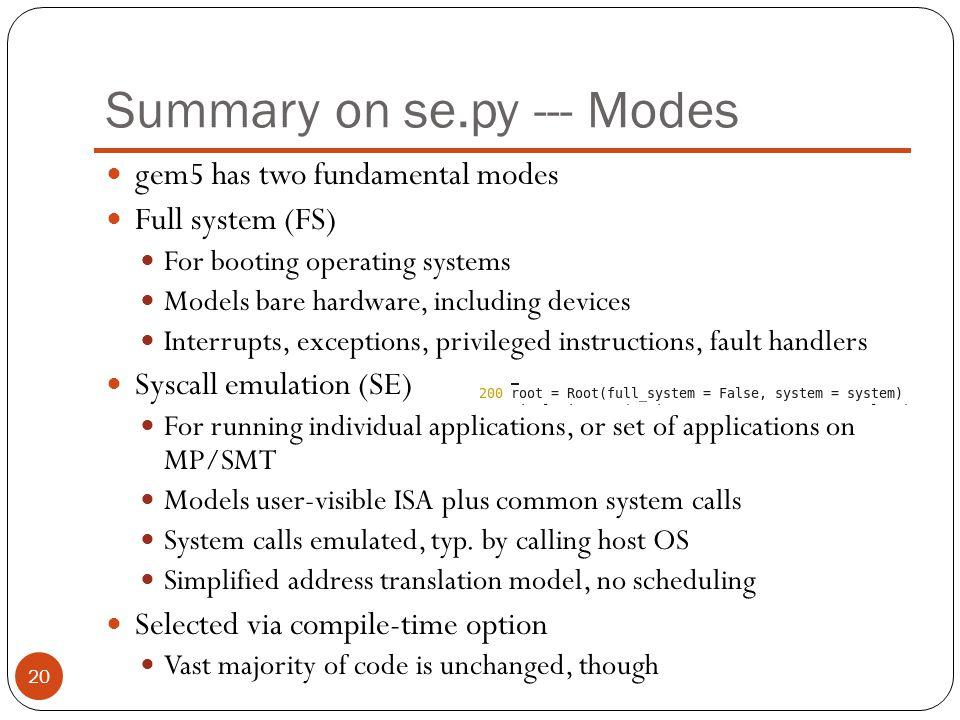 Summary on se.py --- Modes