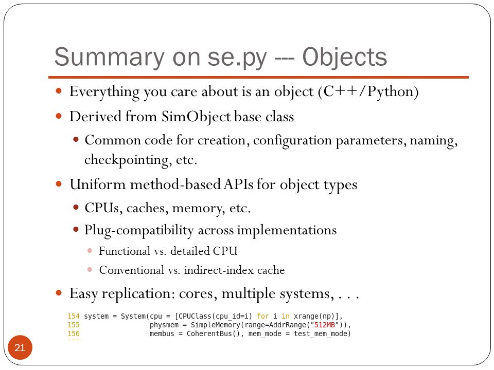 Summary on se.py --- Objects