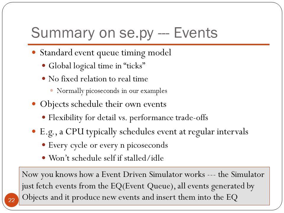 Summary on se.py --- Events