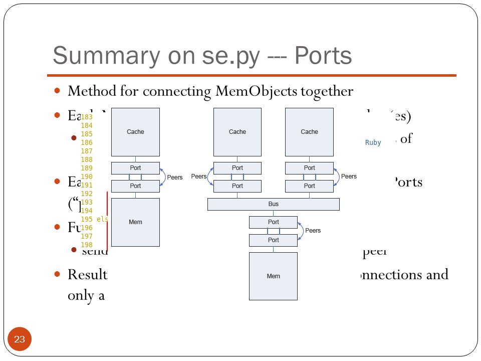 Summary on se.py --- Ports