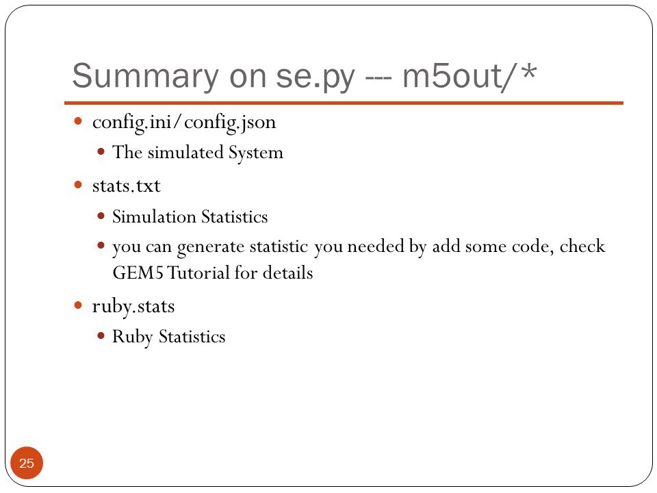 Summary on se.py --- m5out/*