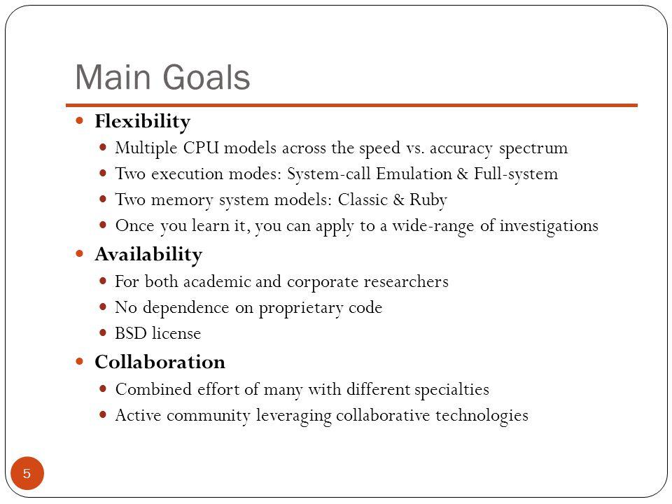 Main Goals Flexibility Availability Collaboration