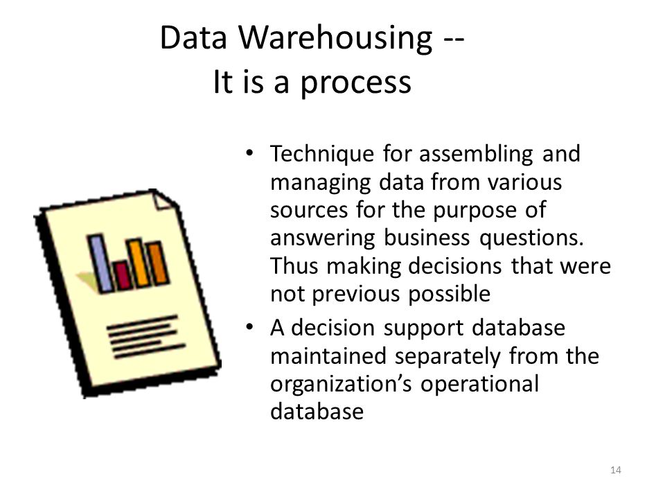 Data Warehousing -- It is a process