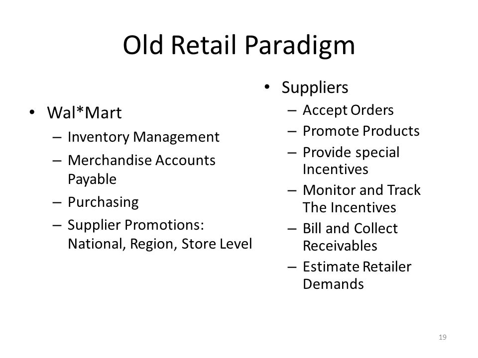 Old Retail Paradigm Suppliers Wal*Mart Accept Orders Promote Products