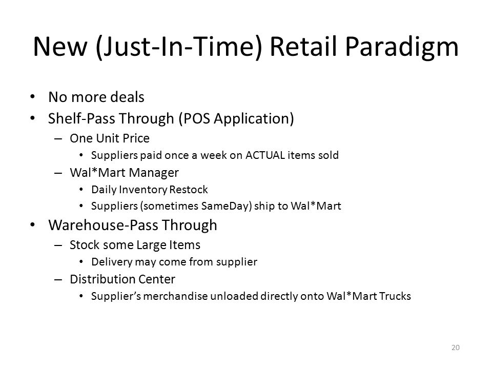 New (Just-In-Time) Retail Paradigm