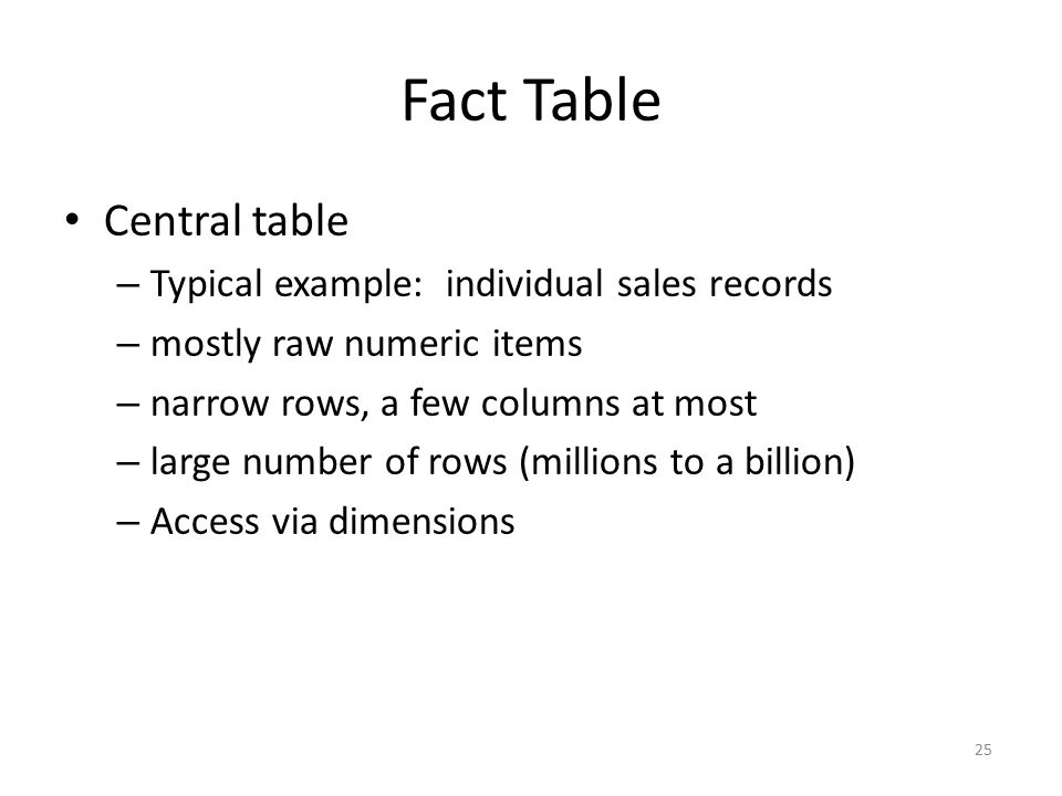 Fact Table Central table Typical example: individual sales records