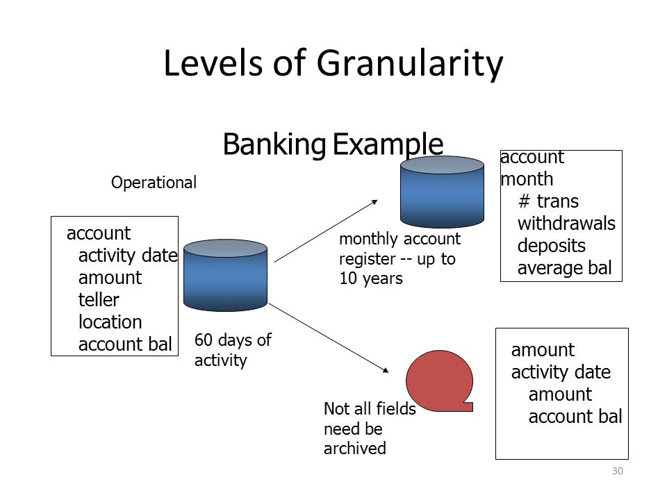 Levels of Granularity Banking Example account month # trans