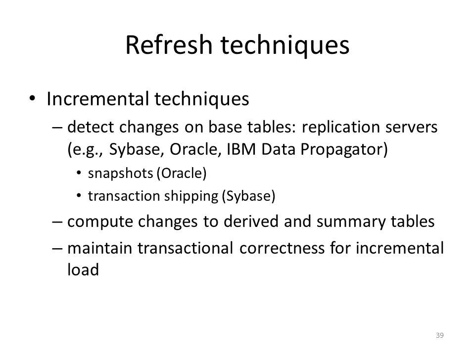 Refresh techniques Incremental techniques