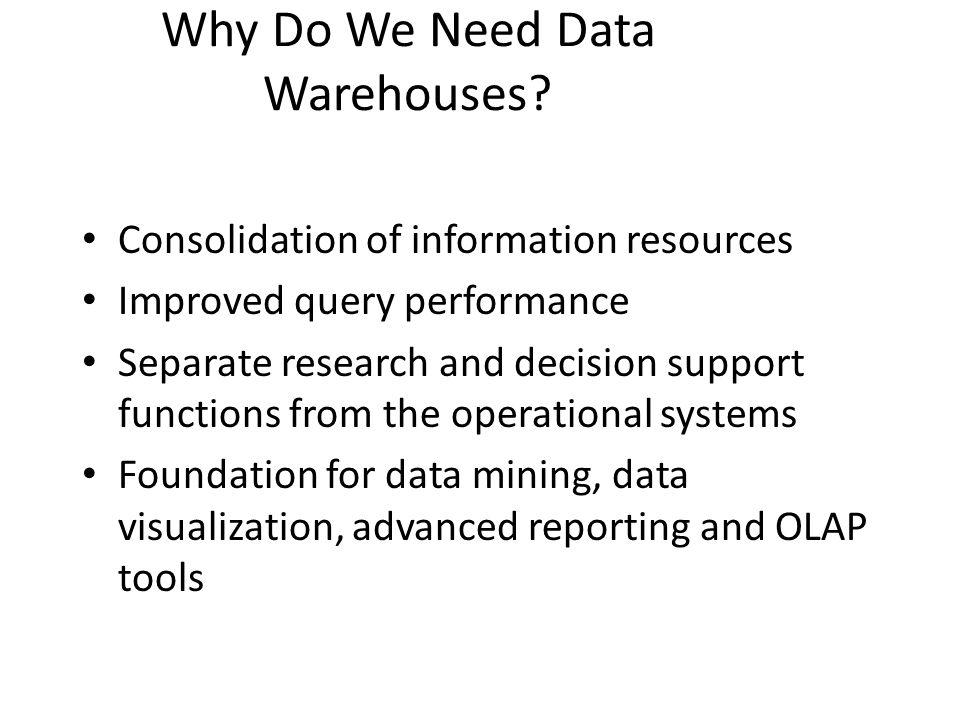 Why Do We Need Data Warehouses