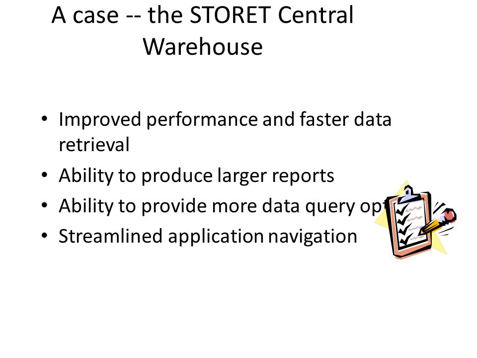 A case -- the STORET Central Warehouse