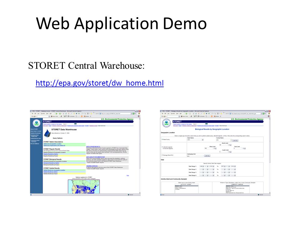 Web Application Demo STORET Central Warehouse: