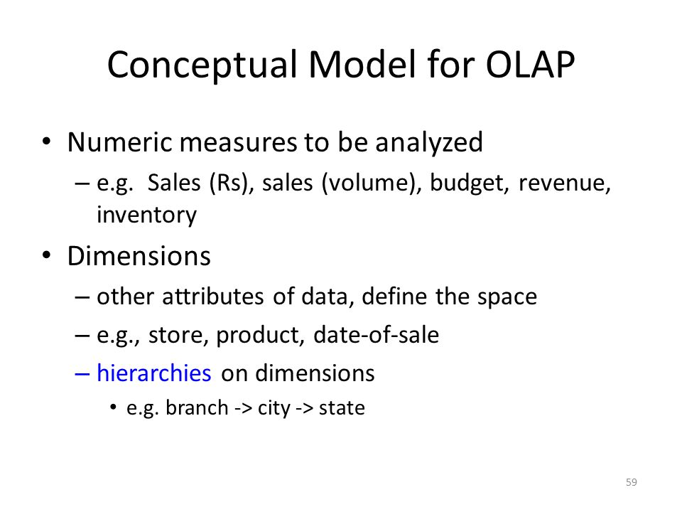 Conceptual Model for OLAP