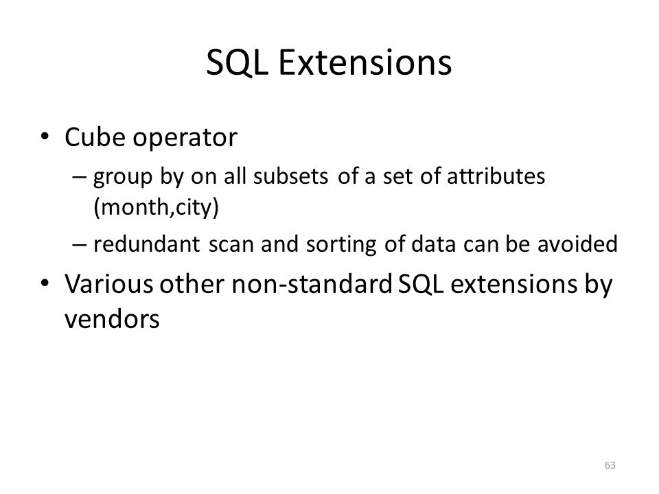 SQL Extensions Cube operator