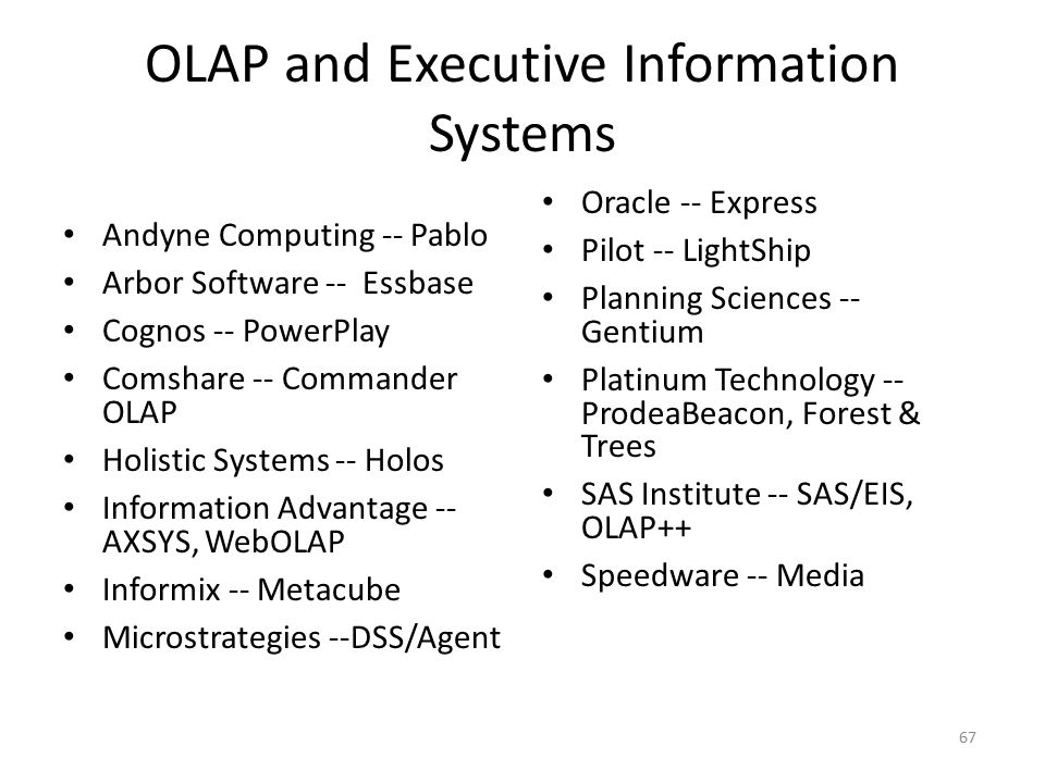 OLAP and Executive Information Systems