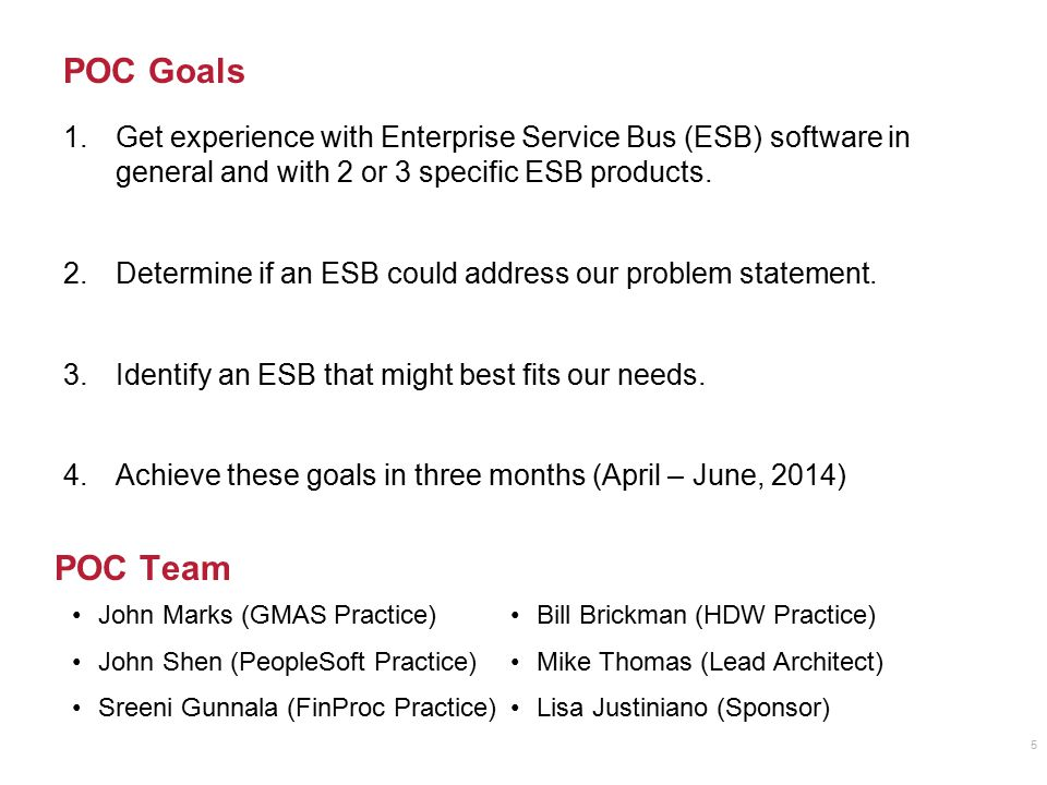POC Goals Get experience with Enterprise Service Bus (ESB) software in general and with 2 or 3 specific ESB products.