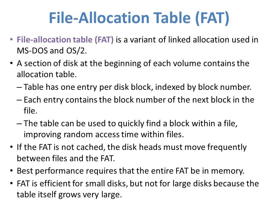 File-Allocation Table (FAT)