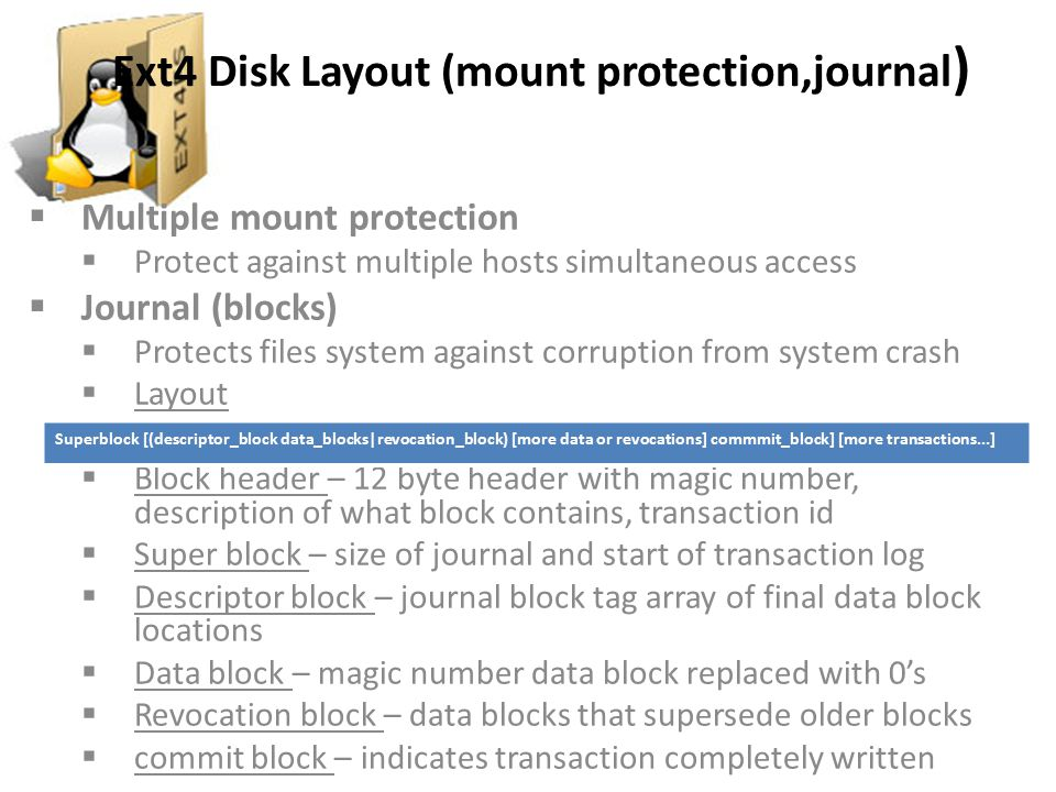 Ext4 Disk Layout (mount protection,journal)