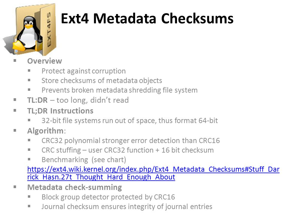 Ext4 Metadata Checksums