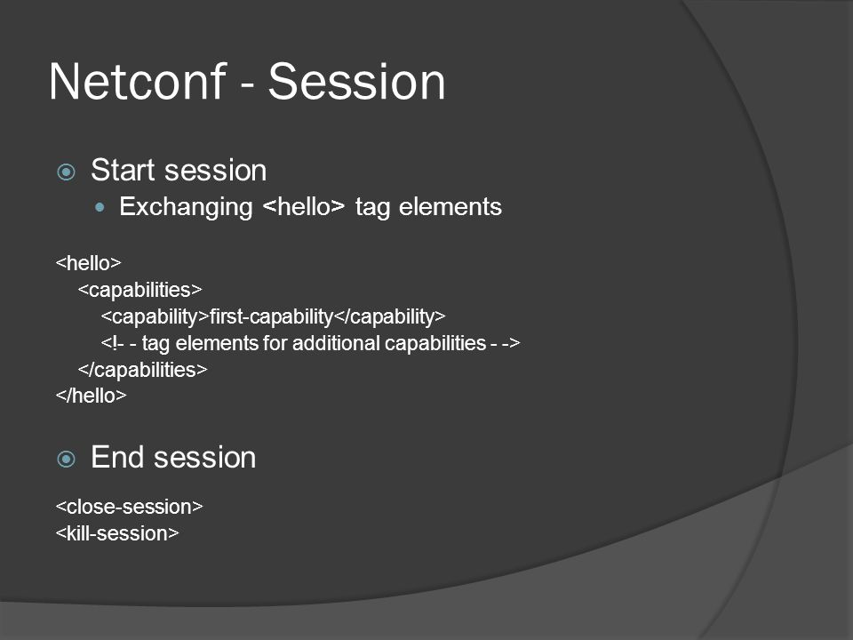 Netconf - Session Start session End session