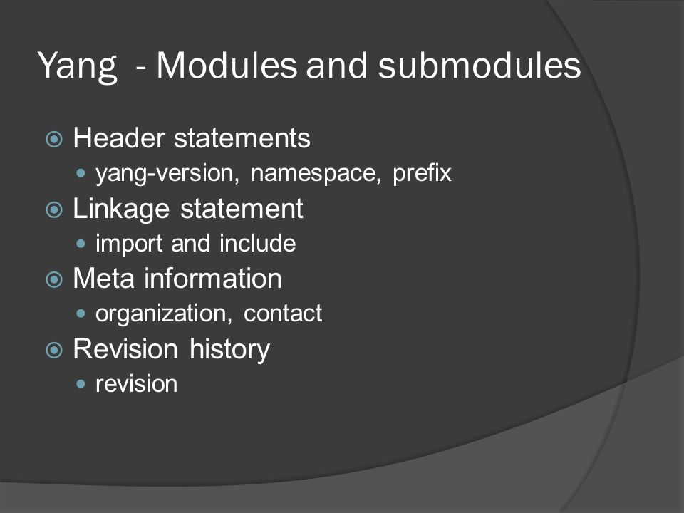 Yang - Modules and submodules