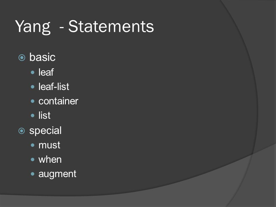 Yang - Statements basic special leaf leaf-list container list must