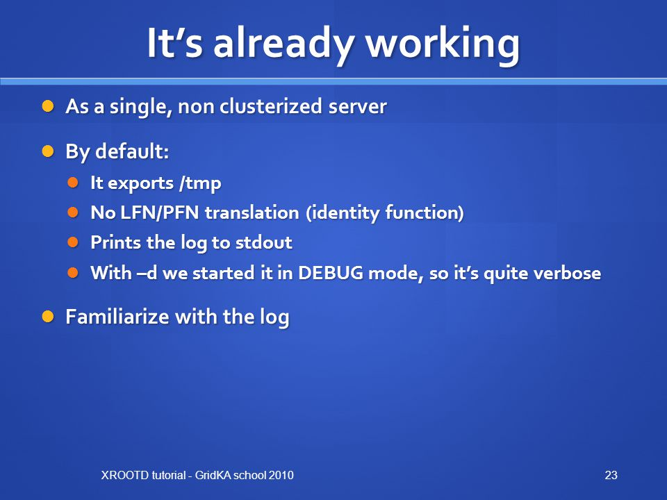 It's already working As a single, non clusterized server By default: