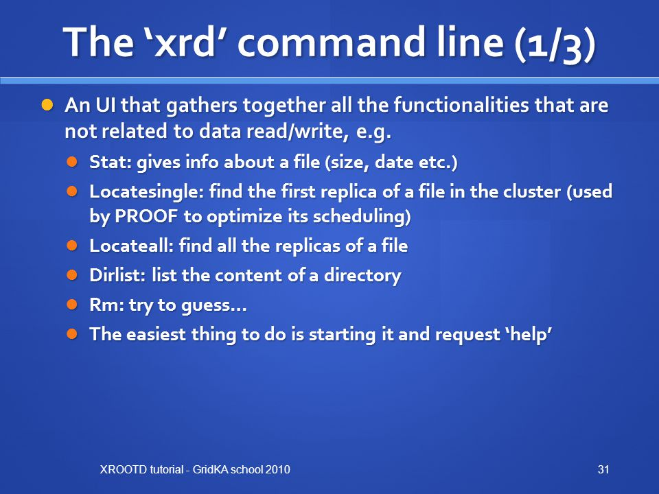 The 'xrd' command line (1/3)