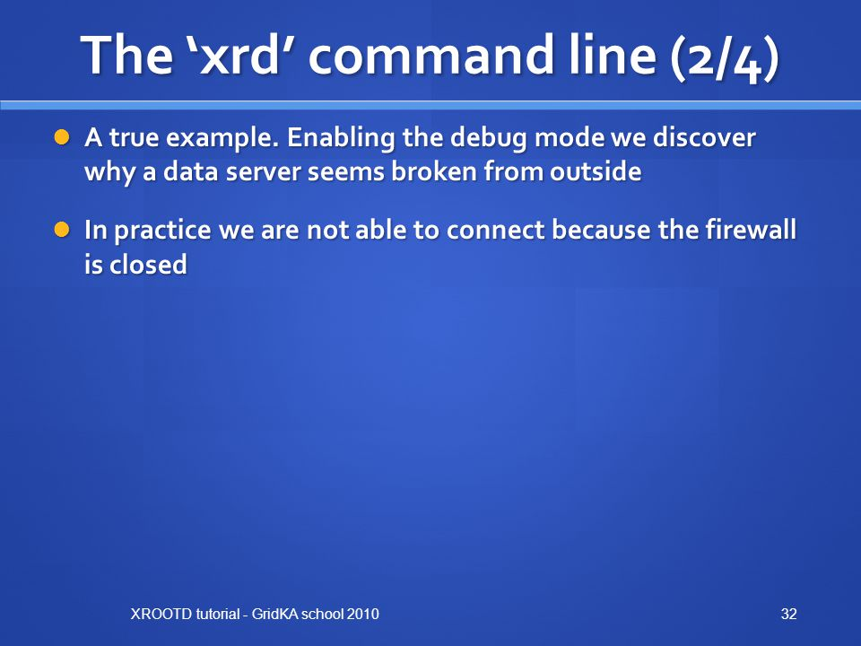 The 'xrd' command line (2/4)
