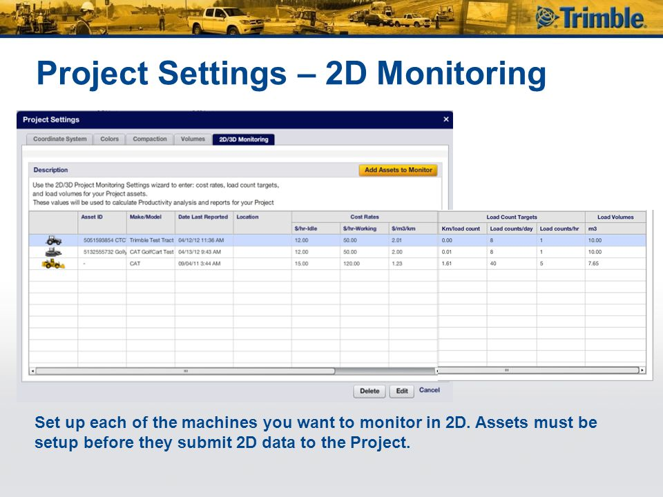 Project Settings – 2D Monitoring