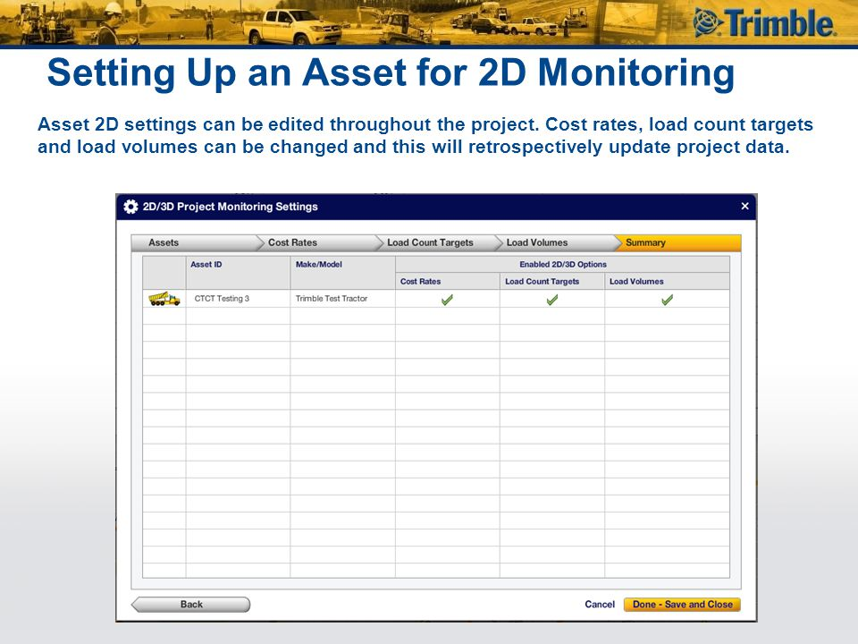 Setting Up an Asset for 2D Monitoring