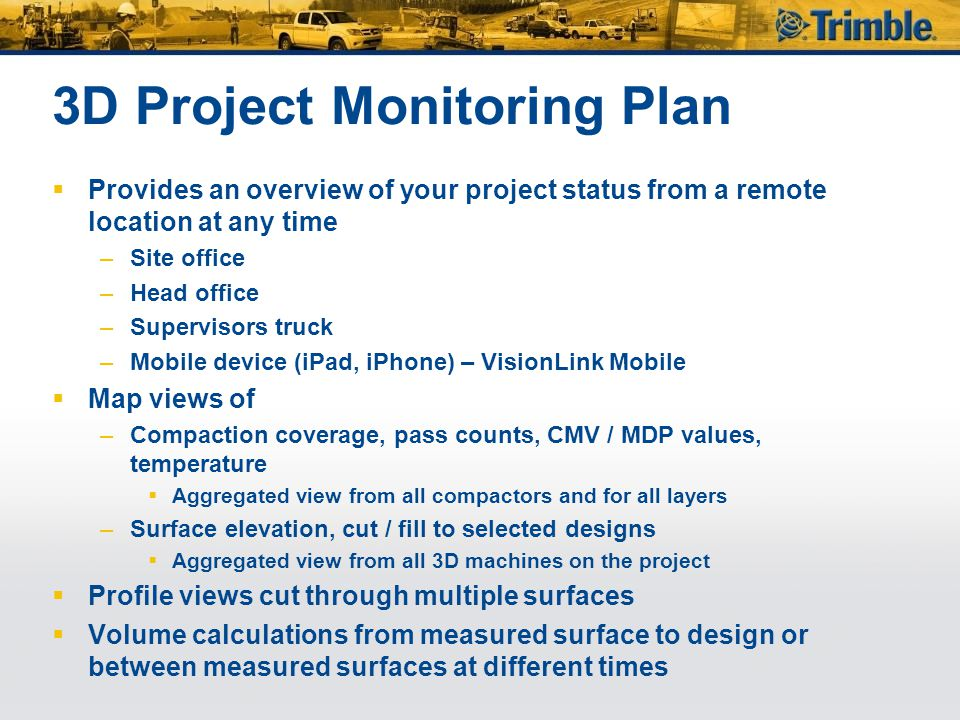 3D Project Monitoring Plan