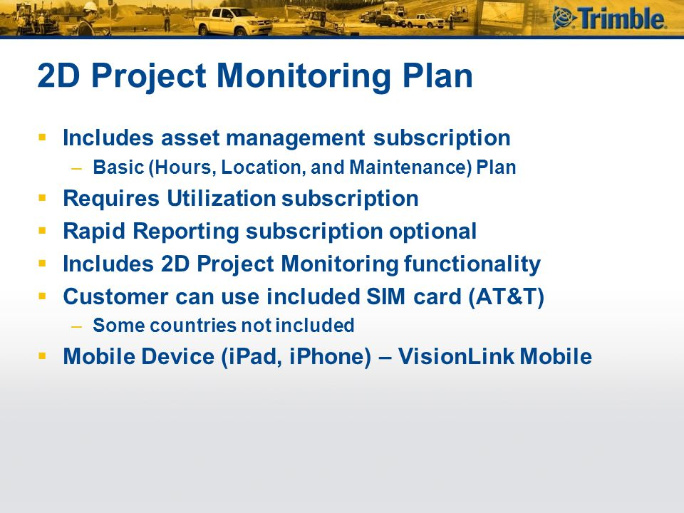 2D Project Monitoring Plan