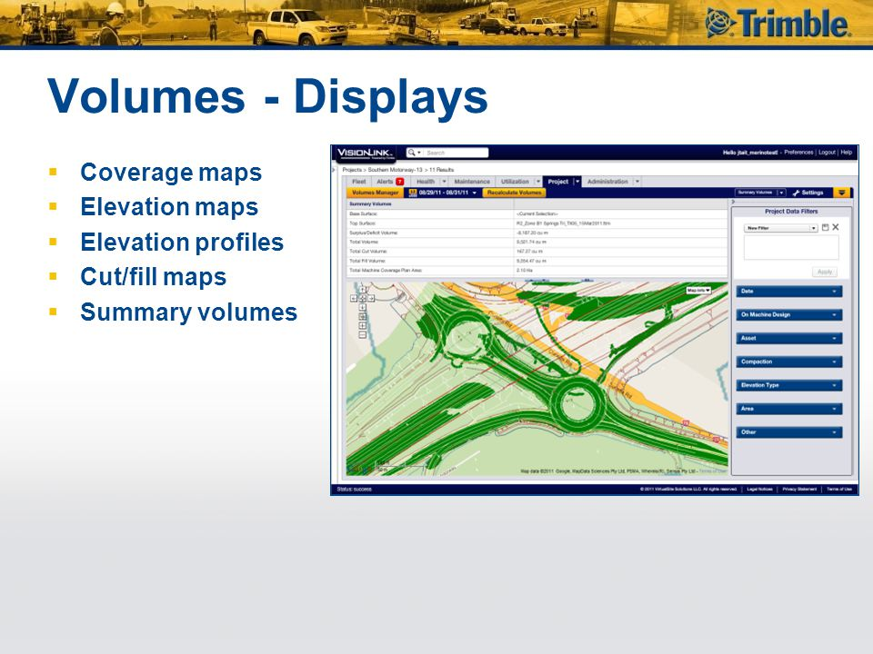 Volumes - Displays Coverage maps Elevation maps Elevation profiles