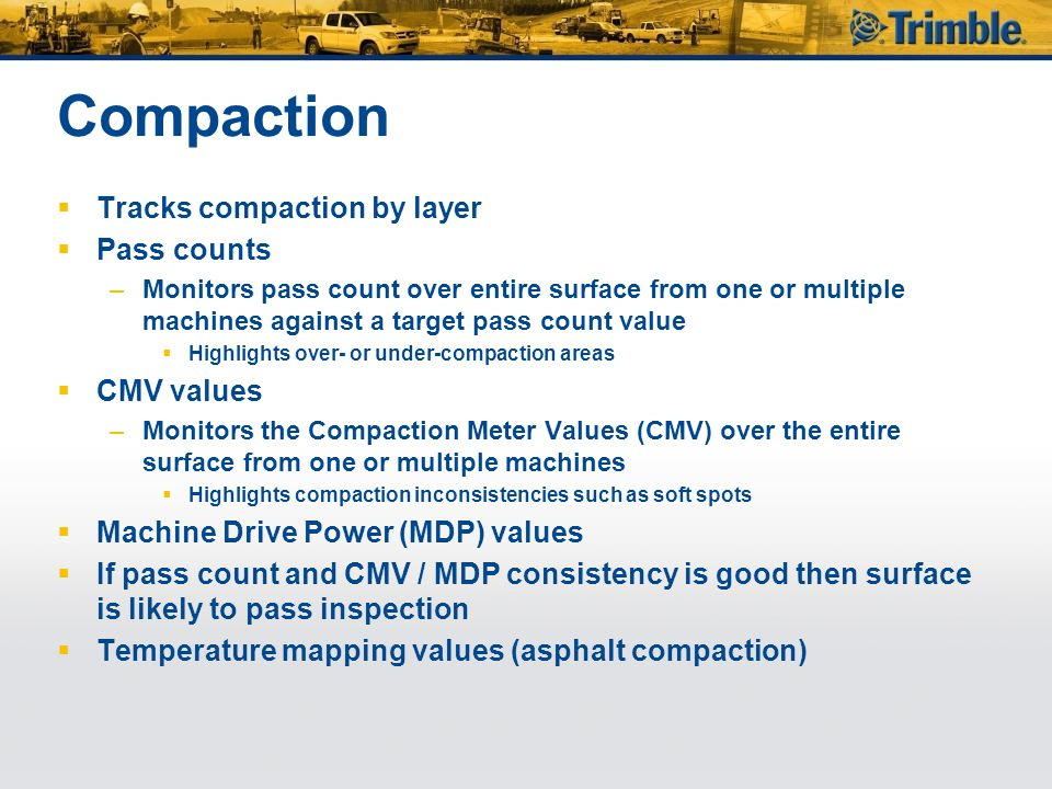 Compaction Tracks compaction by layer Pass counts CMV values