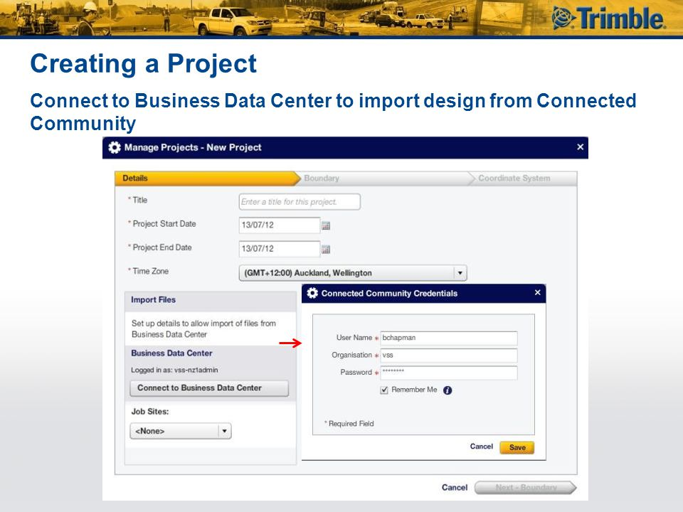 Creating a Project Connect to Business Data Center to import design from Connected Community