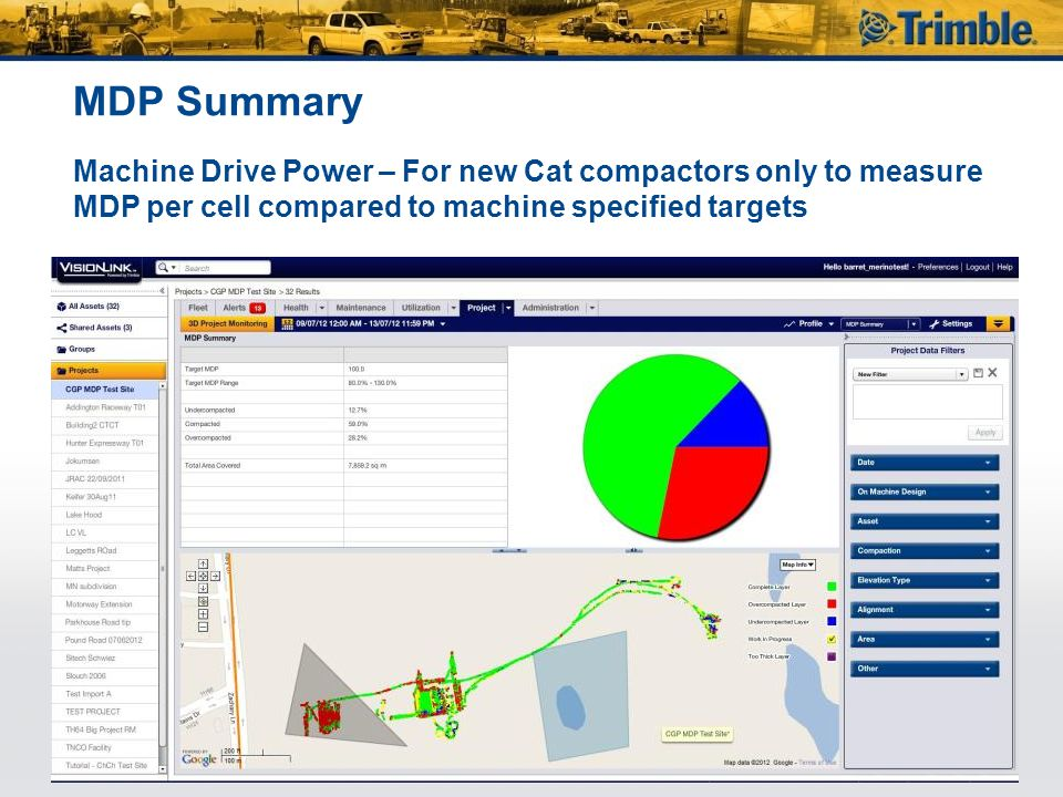 MDP Summary Machine Drive Power – For new Cat compactors only to measure MDP per cell compared to machine specified targets.