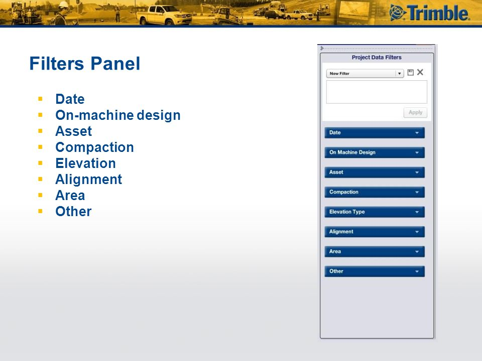 Filters Panel Date On-machine design Asset Compaction Elevation