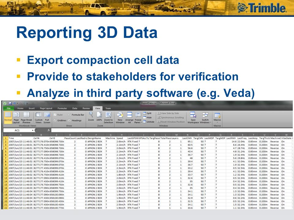 Reporting 3D Data Export compaction cell data
