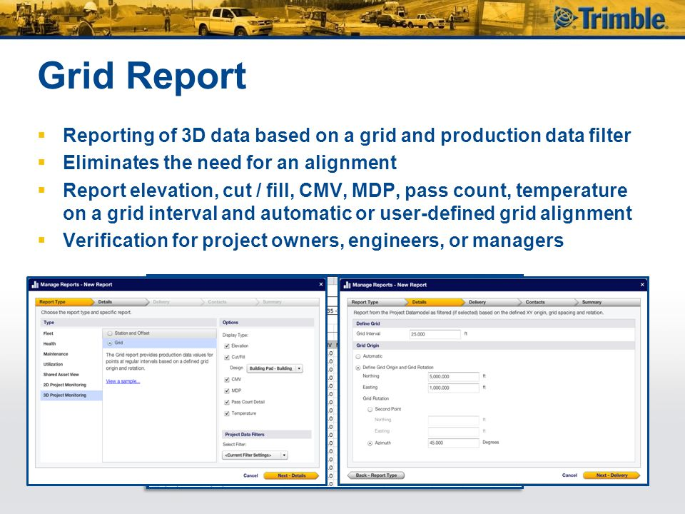 Grid Report Reporting of 3D data based on a grid and production data filter. Eliminates the need for an alignment.