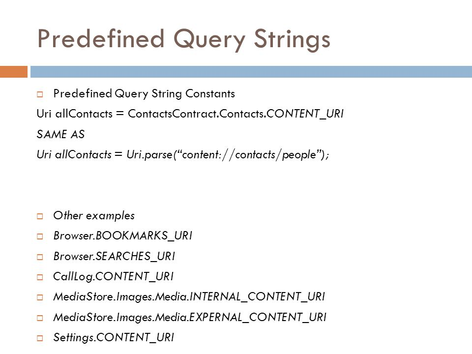 Predefined Query Strings