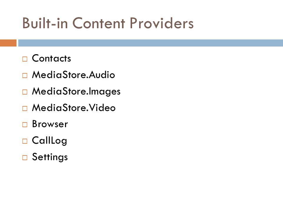 Built-in Content Providers