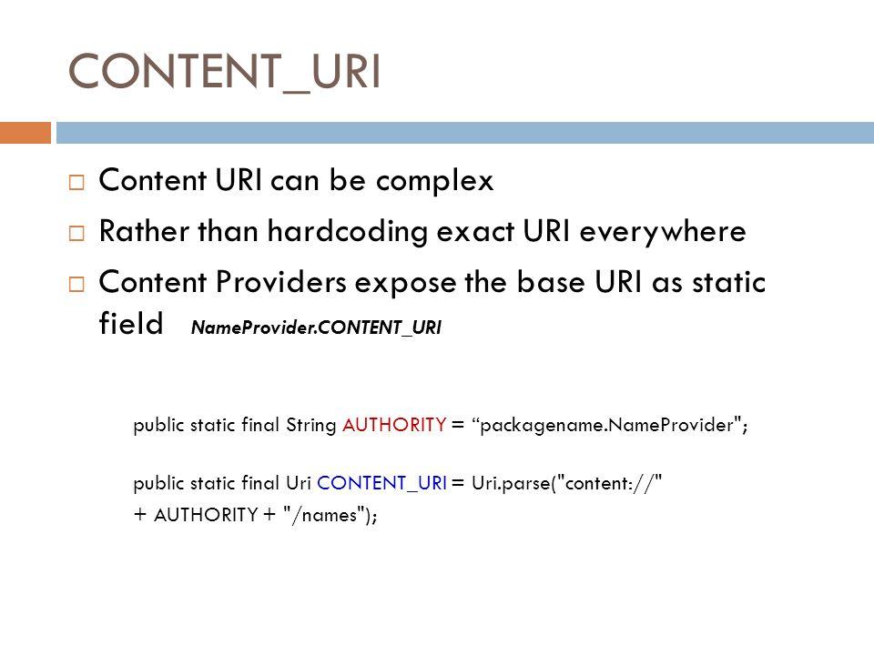 CONTENT_URI Content URI can be complex