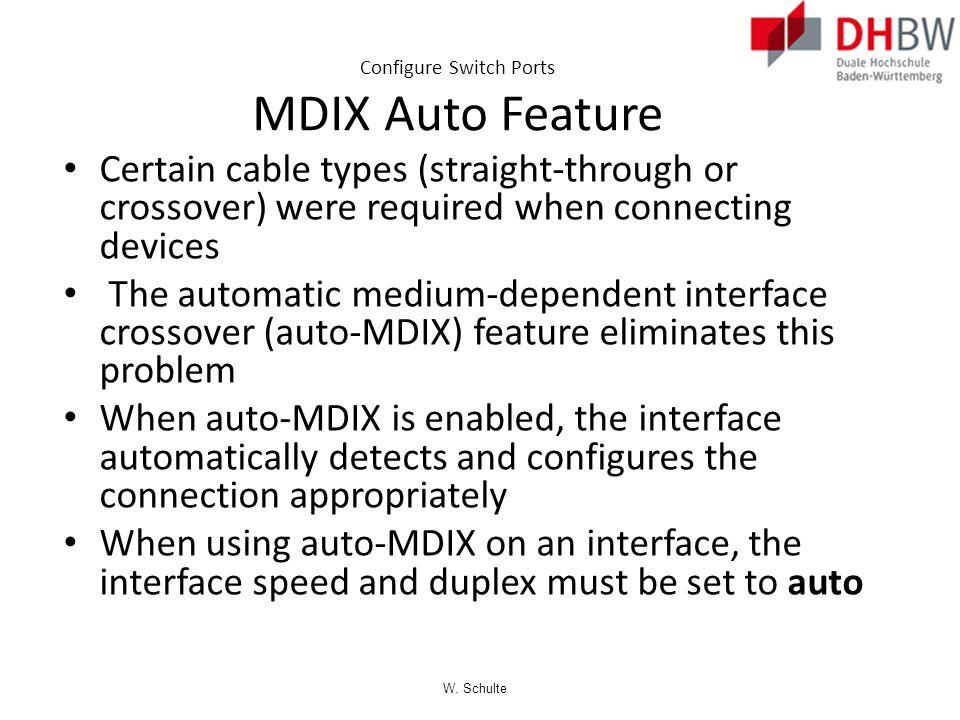 Configure Switch Ports MDIX Auto Feature