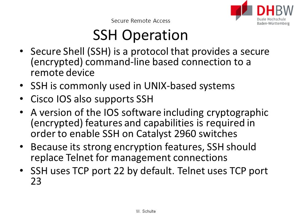 Secure Remote Access SSH Operation