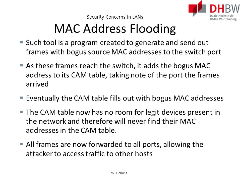 Security Concerns in LANs MAC Address Flooding