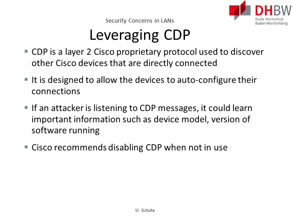 Security Concerns in LANs Leveraging CDP