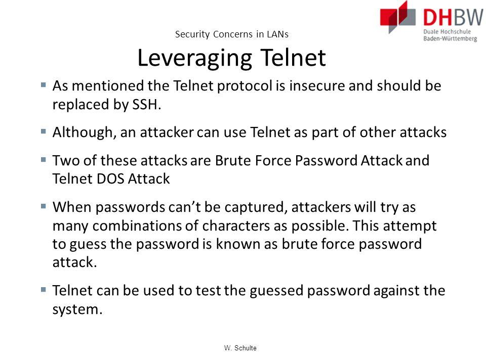 Security Concerns in LANs Leveraging Telnet