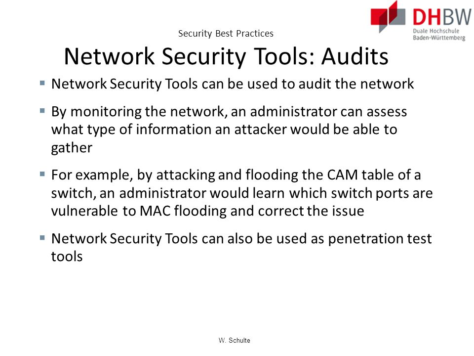 Security Best Practices Network Security Tools: Audits